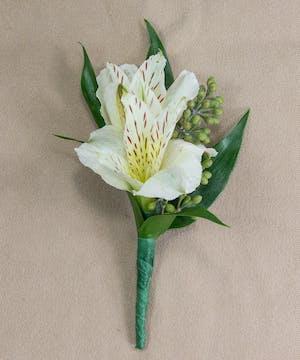 White alstroemeria boutonniere