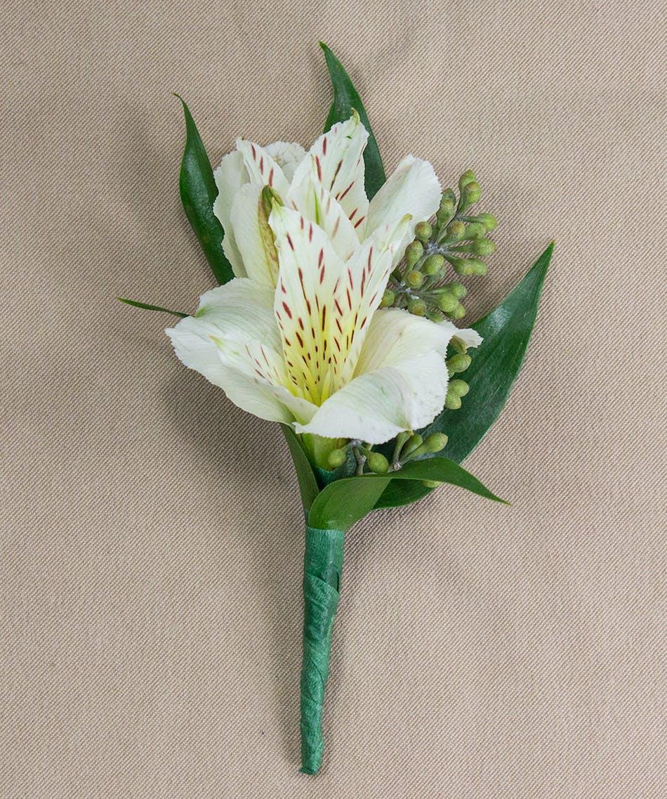 White Alstroemeria Boutonniere Prom Flowers Radebaugh Florist