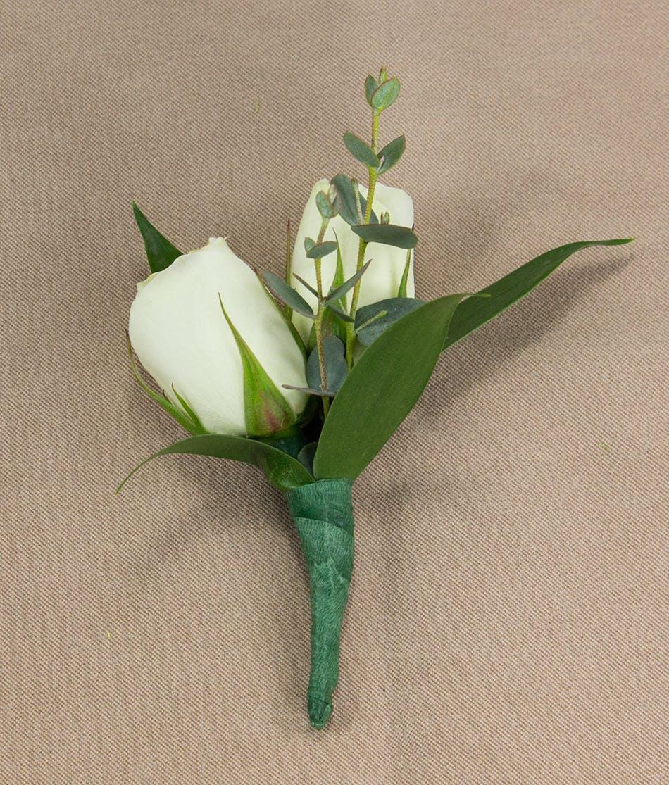 White Sweetheart Rose Boutonniere Prom Flowers Radebaugh Florist