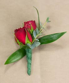 Red Sweetheart Rose Boutonniere