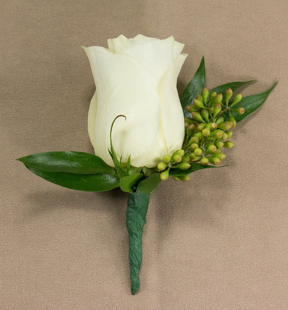 White Rose Boutonniere Prom Flowers Radebaugh Florist And