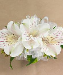 White Alstroemeria Wristlet