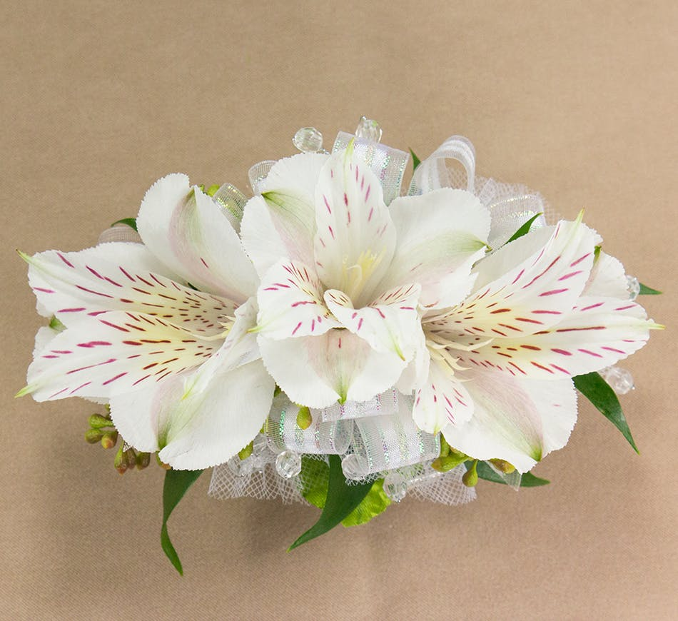 White alstroemeria wristlet corsages radebaugh florist greenhouses white alstroemeria wristlet mightylinksfo