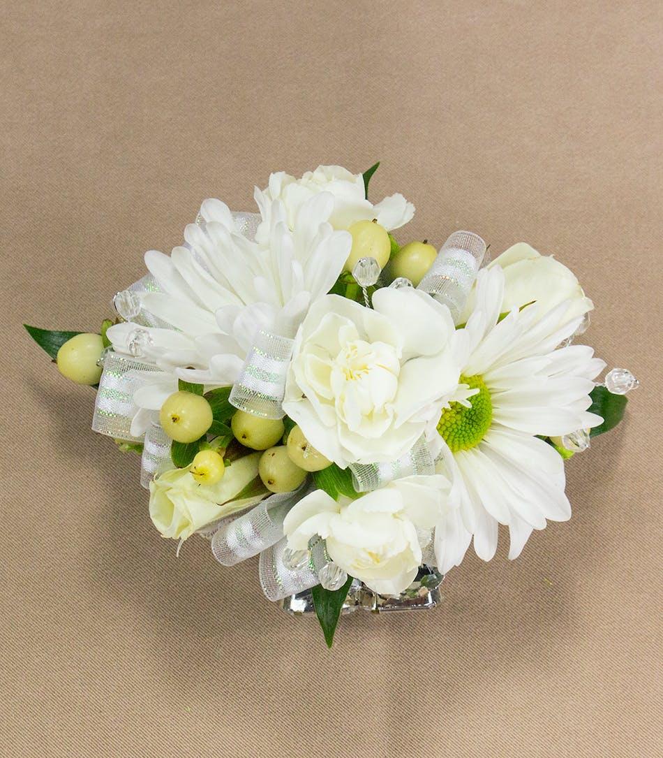White multi flower wristlet prom flowers radebaugh florist and white multi flower wristlet mightylinksfo