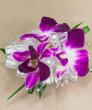 Purple Dendrobium Orchid Wristlet