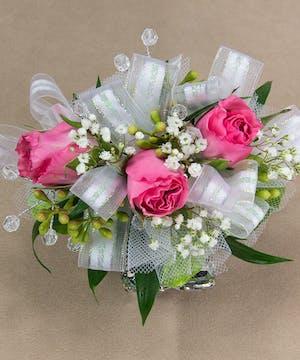 Pink Sweetheart Rose Wristlet