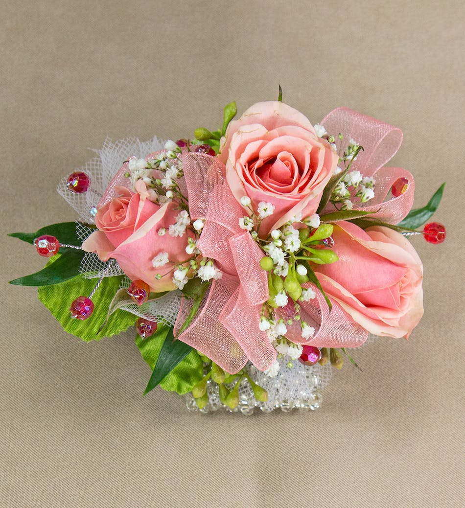 Peach Sweetheart Rose Wirstlet Prom Flowers Radebaugh Florist And