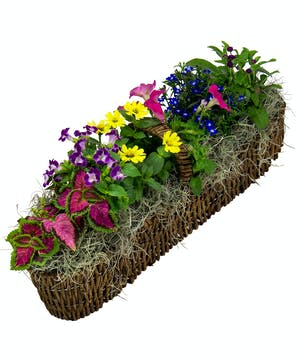 A beautiful all blooming canoe basket!