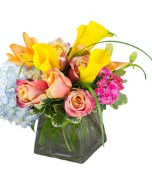 A tropical and colorful bouquet featuring gorgeous yellow cala lilies.