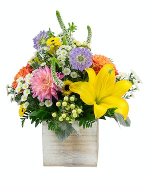 A vibrant summer bouquet full of all the colors of summer.