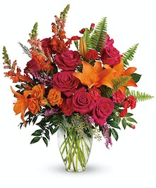 A hot pink and orange summer bouquet.