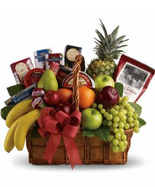 Yummy fruits and gourmet snacks will warm anyone's hearts and bellies