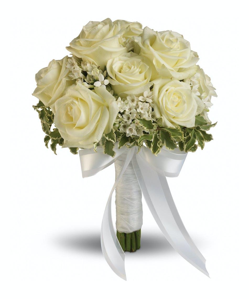 Lacy Rose Bouquet Delicate White Bouvardia And Pittosporum Lend A