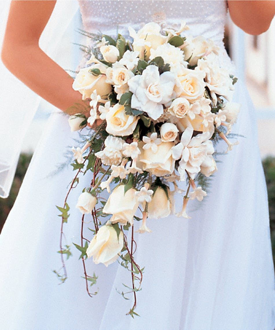 White Cascade Bridal Bouquet Like A Waterfall Of White Flowers