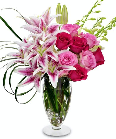 Hot Pink Roses, Red Roses, Oriental Lilies