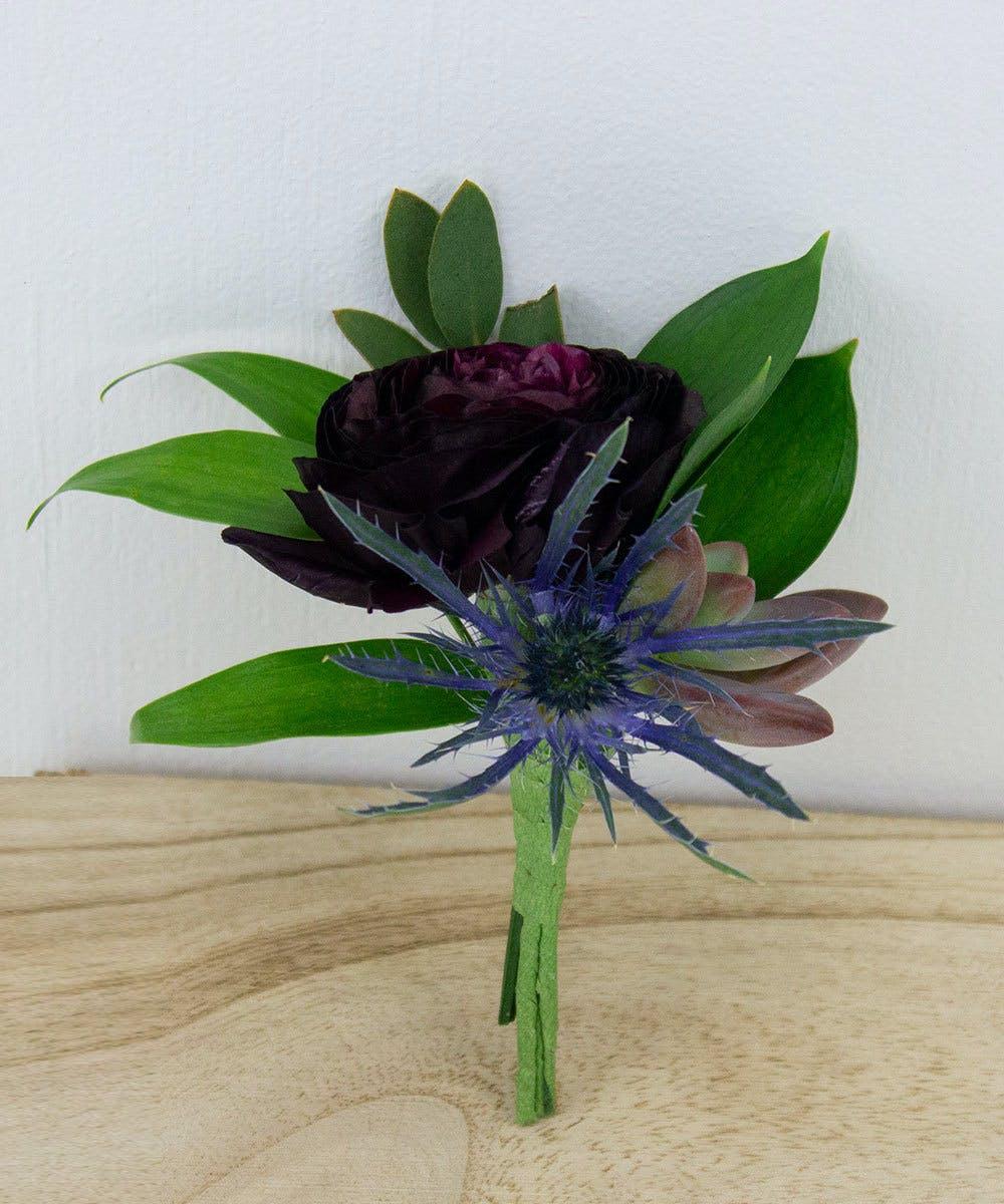 Ranunculus Blue Thistle Boutonniere Prom Radebaugh Florist Greenhouses