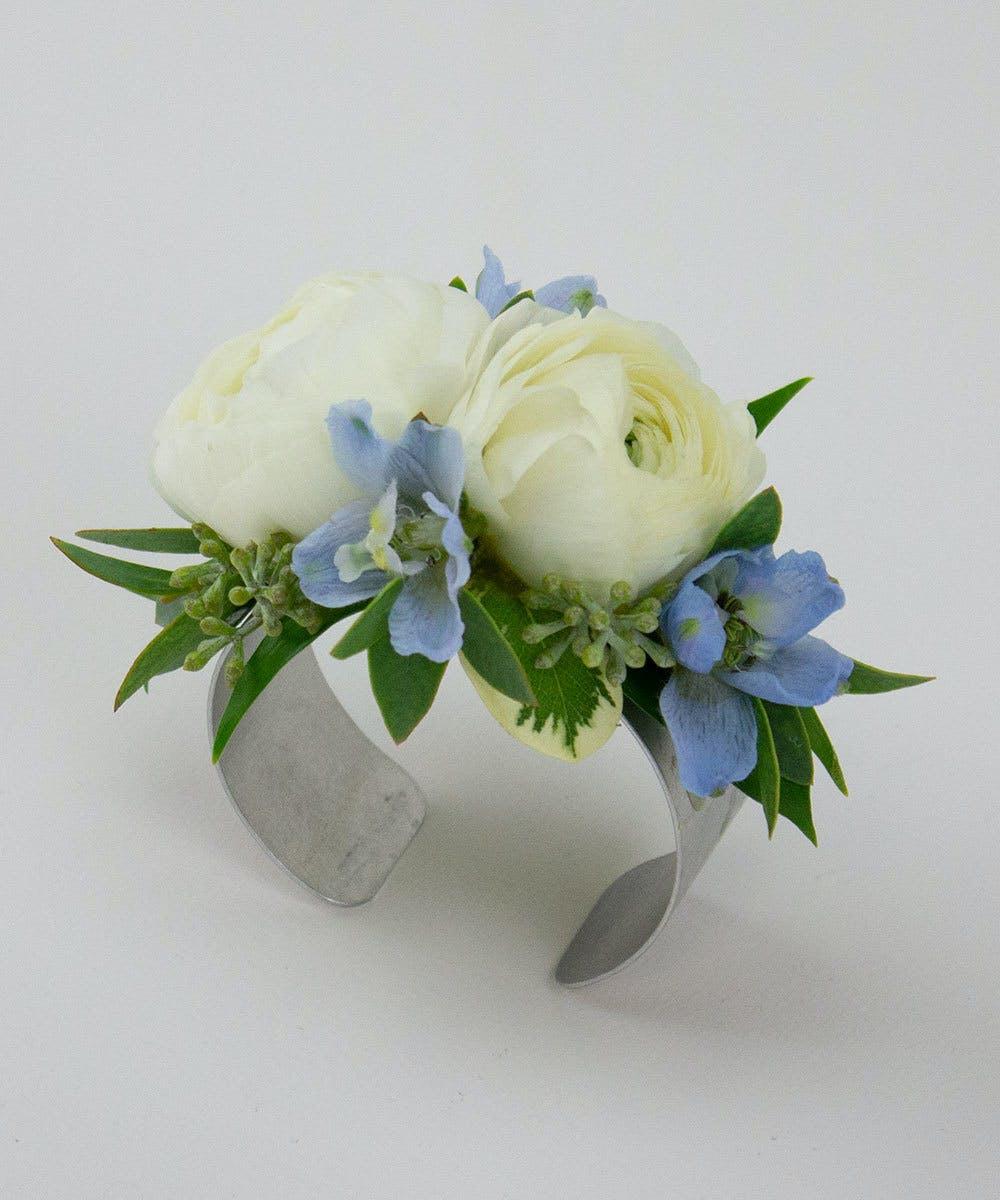 Ranunculus Light Blue Delphinium Wristlet Corsages Radebaugh Florist Greenhouses